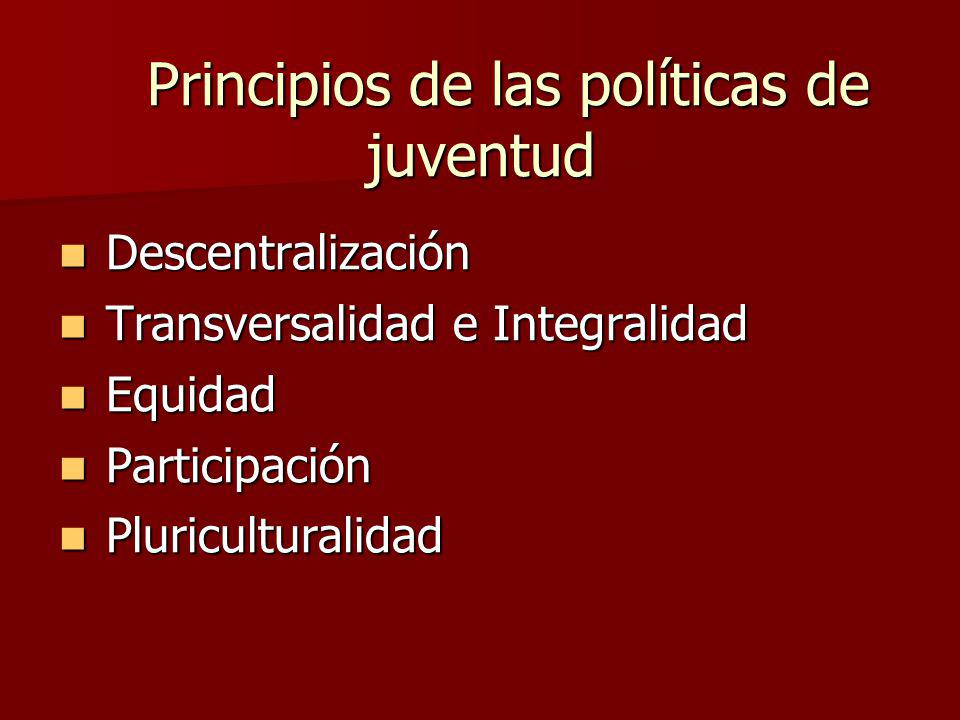 Principios de las políticas de juventud Principios de las políticas de juventud Descentralización Descentralización Transversalidad e Integralidad Transversalidad e Integralidad Equidad Equidad Participación Participación Pluriculturalidad Pluriculturalidad
