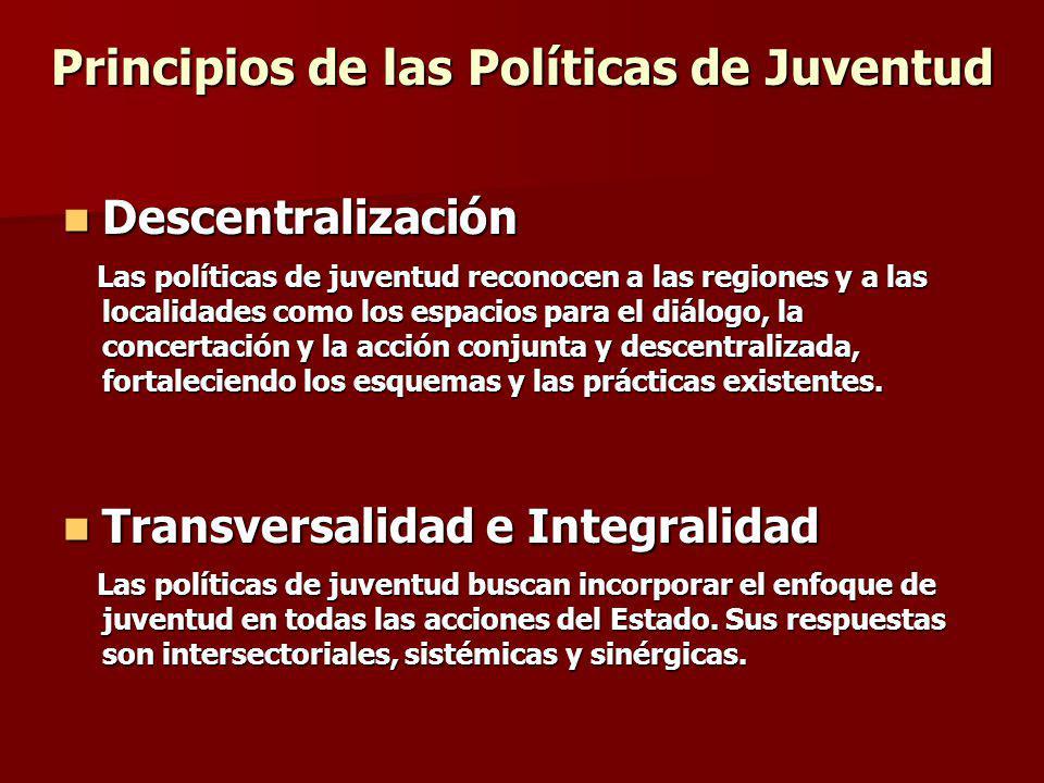 Principios de las Políticas de Juventud Descentralización Descentralización Las políticas de juventud reconocen a las regiones y a las localidades com