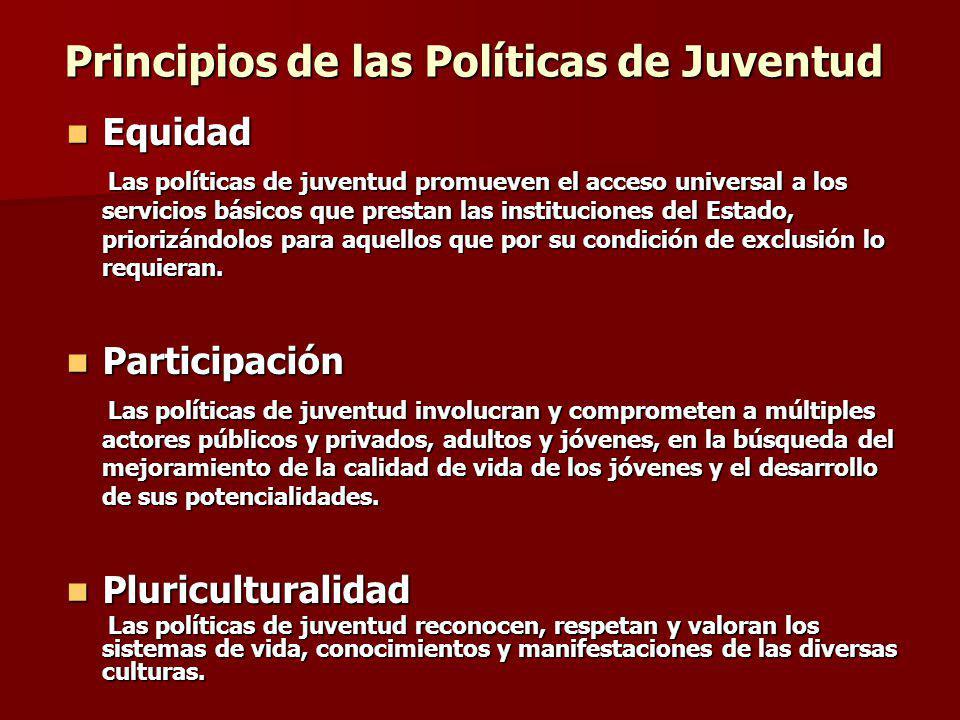 Equidad Equidad Las políticas de juventud promueven el acceso universal a los servicios básicos que prestan las instituciones del Estado, priorizándol