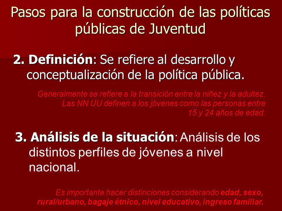 2. Definición: Se refiere al desarrollo y conceptualización de la política pública. Generalmente se refiere a la transición entre la niñez y la adulte