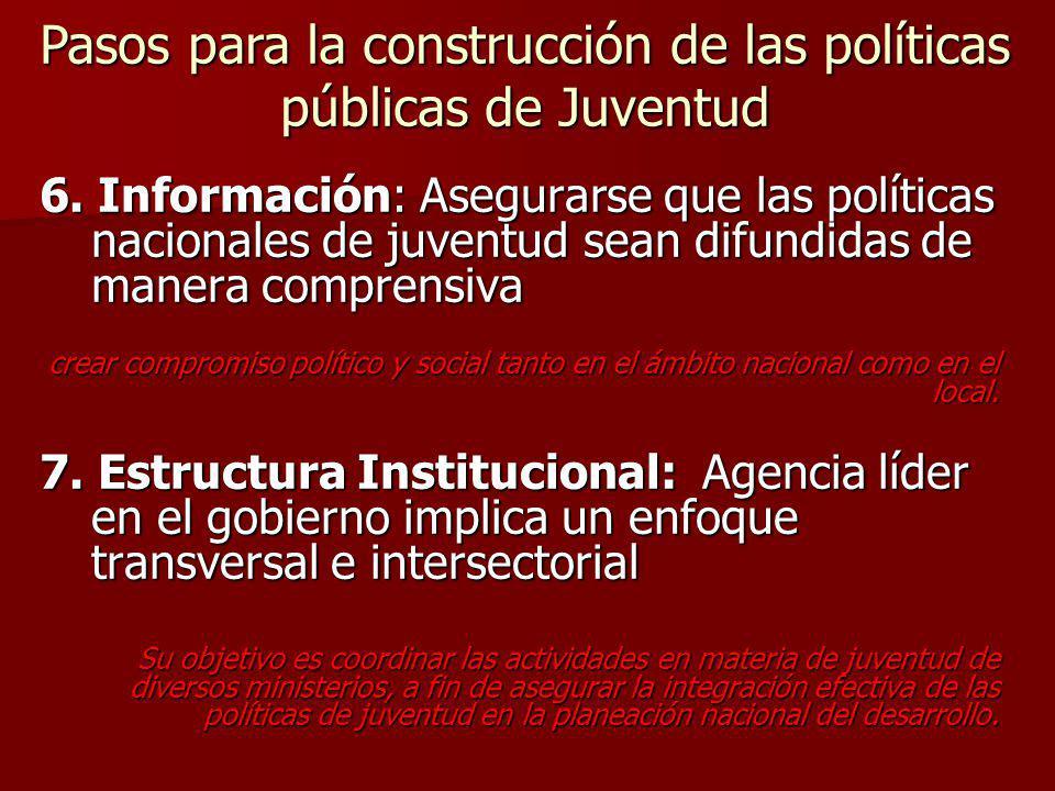6. Información: Asegurarse que las políticas nacionales de juventud sean difundidas de manera comprensiva crear compromiso político y social tanto en