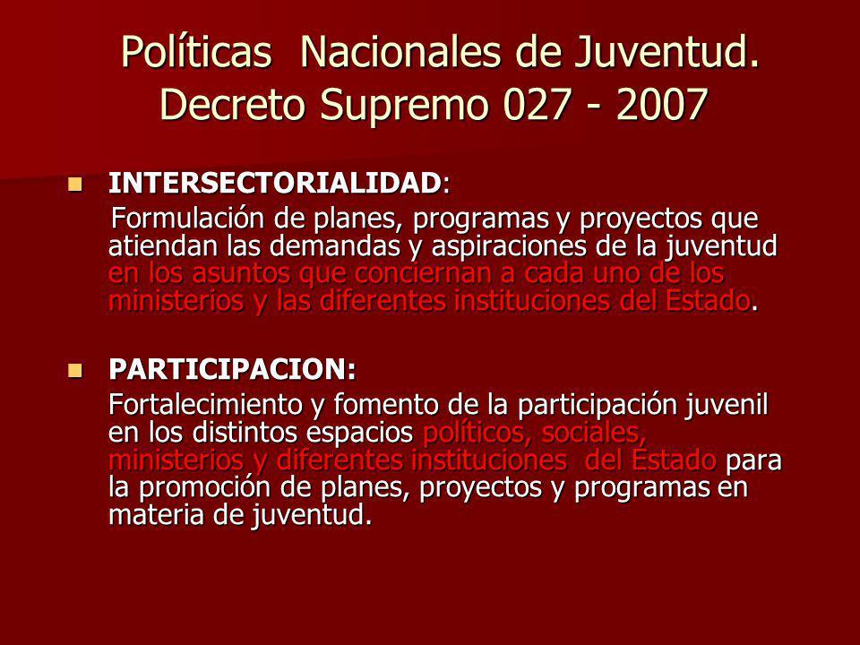 Políticas Nacionales de Juventud. Decreto Supremo 027 - 2007 Políticas Nacionales de Juventud. Decreto Supremo 027 - 2007 INTERSECTORIALIDAD: INTERSEC