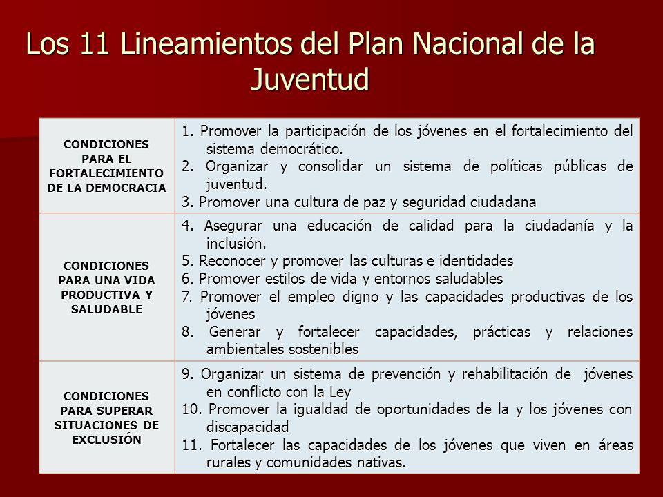 Los 11 Lineamientos del Plan Nacional de la Juventud CONDICIONES PARA EL FORTALECIMIENTO DE LA DEMOCRACIA 1. Promover la participación de los jóvenes