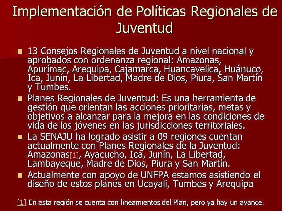 Implementación de Políticas Regionales de Juventud 13 Consejos Regionales de Juventud a nivel nacional y aprobados con ordenanza regional: Amazonas, Apurímac, Arequipa, Cajamarca, Huancavelica, Huánuco, Ica, Junín, La Libertad, Madre de Dios, Piura, San Martín y Tumbes.