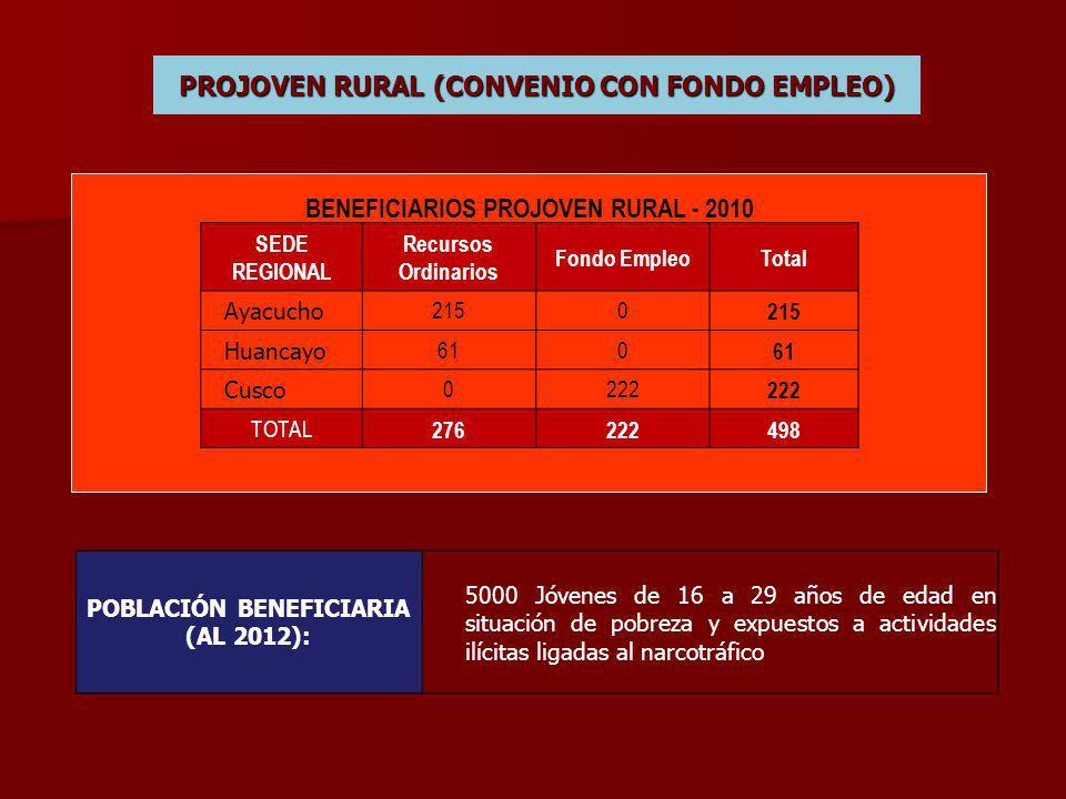 PROJOVEN RURAL (CONVENIO CON FONDO EMPLEO) BENEFICIARIOS PROJOVEN RURAL - 2010 SEDE REGIONAL Recursos Ordinarios Fondo EmpleoTotal Ayacucho 2150 Huancayo 610 Cusco 0222 TOTAL 276222498 POBLACIÓN BENEFICIARIA (AL 2012): 5000 Jóvenes de 16 a 29 años de edad en situación de pobreza y expuestos a actividades ilícitas ligadas al narcotráfico