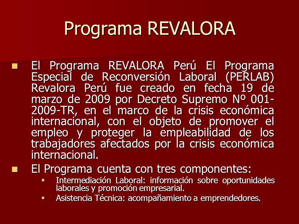 Programa REVALORA El Programa REVALORA Perú El Programa Especial de Reconversión Laboral (PERLAB) Revalora Perú fue creado en fecha 19 de marzo de 2009 por Decreto Supremo Nº 001- 2009-TR, en el marco de la crisis económica internacional, con el objeto de promover el empleo y proteger la empleabilidad de los trabajadores afectados por la crisis económica internacional.