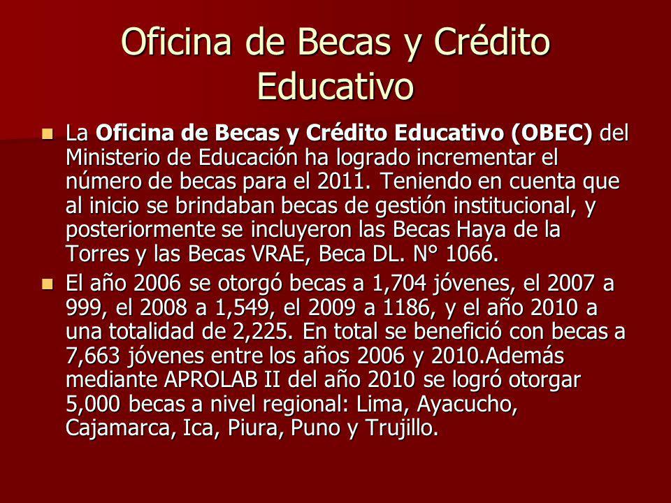 Oficina de Becas y Crédito Educativo La Oficina de Becas y Crédito Educativo (OBEC) del Ministerio de Educación ha logrado incrementar el número de becas para el 2011.