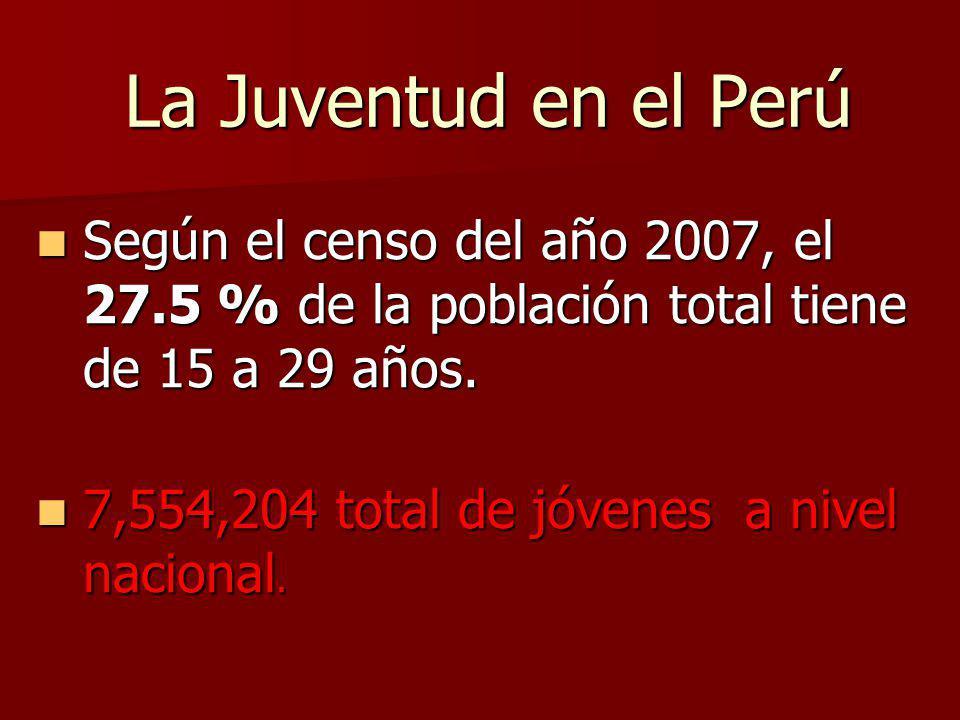 La Juventud en el Perú Según el censo del año 2007, el 27.5 % de la población total tiene de 15 a 29 años. Según el censo del año 2007, el 27.5 % de l