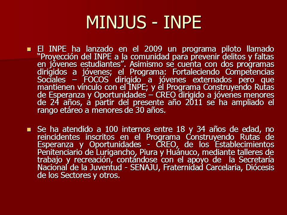 MINJUS - INPE El INPE ha lanzado en el 2009 un programa piloto llamado Proyección del INPE a la comunidad para prevenir delitos y faltas en jóvenes estudiantes.