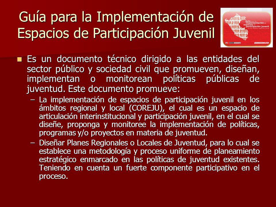 Es un documento técnico dirigido a las entidades del sector público y sociedad civil que promueven, diseñan, implementan o monitorean políticas públicas de juventud.