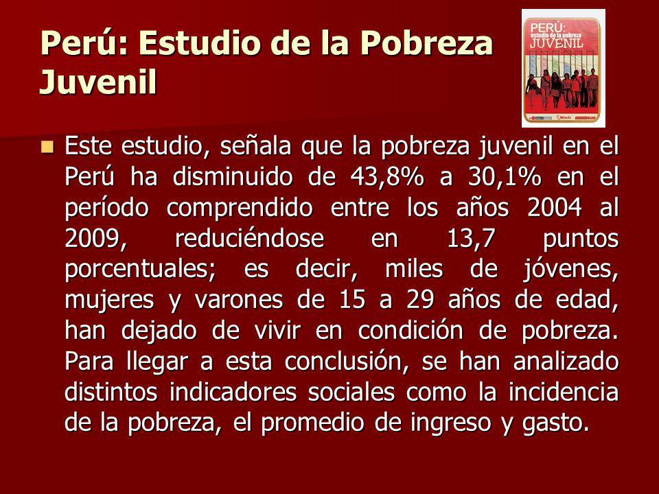 Perú: Estudio de la Pobreza Juvenil Este estudio, señala que la pobreza juvenil en el Perú ha disminuido de 43,8% a 30,1% en el período comprendido entre los años 2004 al 2009, reduciéndose en 13,7 puntos porcentuales; es decir, miles de jóvenes, mujeres y varones de 15 a 29 años de edad, han dejado de vivir en condición de pobreza.