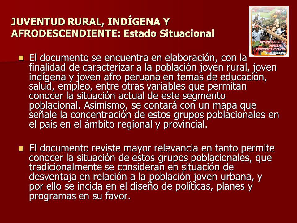 JUVENTUD RURAL, INDÍGENA Y AFRODESCENDIENTE: Estado Situacional El documento se encuentra en elaboración, con la finalidad de caracterizar a la poblac
