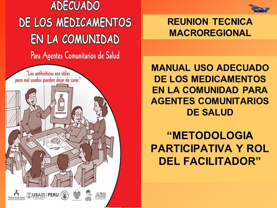 MANUAL USO ADECUADO DE LOS MEDICAMENTOS EN LA COMUNIDAD PARA AGENTES COMUNITARIOS DE SALUD METODOLOGIA PARTICIPATIVA Y ROL DEL FACILITADOR REUNION TECNICA MACROREGIONAL