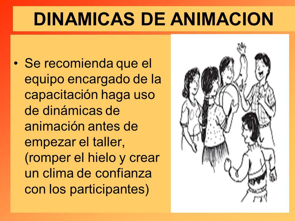 DINAMICAS DE ANIMACION Se recomienda que el equipo encargado de la capacitación haga uso de dinámicas de animación antes de empezar el taller, (romper el hielo y crear un clima de confianza con los participantes)