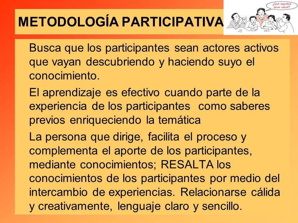 METODOLOGÍA PARTICIPATIVA Busca que los participantes sean actores activos que vayan descubriendo y haciendo suyo el conocimiento.