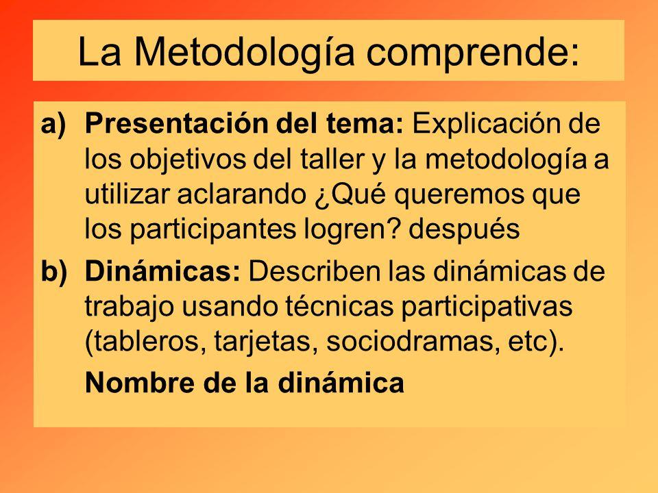 La Metodología comprende: a)Presentación del tema: Explicación de los objetivos del taller y la metodología a utilizar aclarando ¿Qué queremos que los participantes logren.