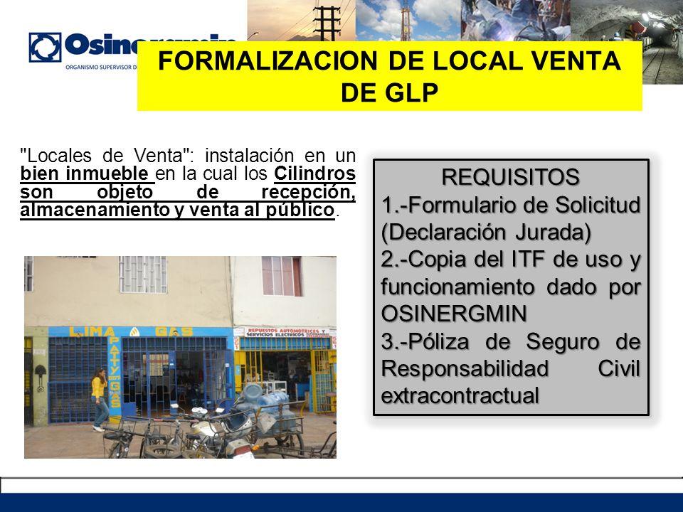 FORMALIZACION DE LOCAL VENTA DE GLP