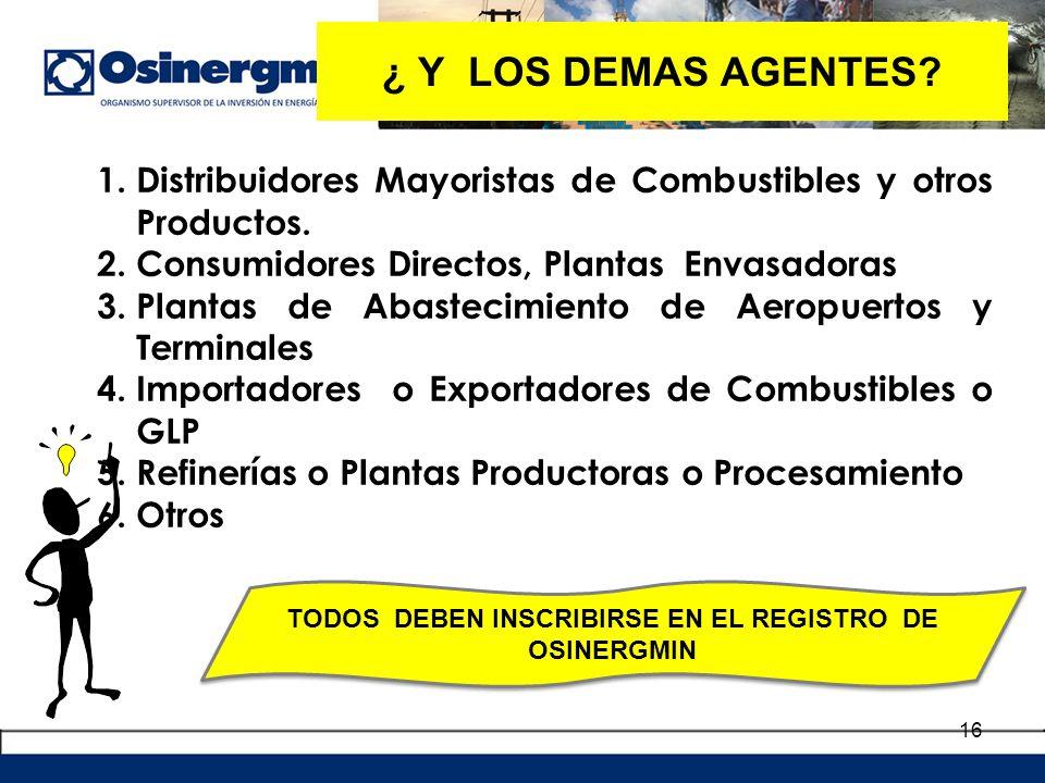 16 1.Distribuidores Mayoristas de Combustibles y otros Productos. 2.Consumidores Directos, Plantas Envasadoras 3.Plantas de Abastecimiento de Aeropuer
