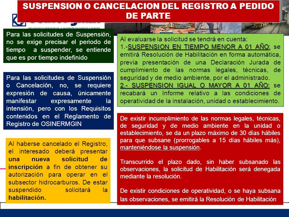 SUSPENSION O CANCELACION DEL REGISTRO A PEDIDO DE PARTE Para las solicitudes de Suspensión, no se exige precisar el periodo de tiempo a suspender, se