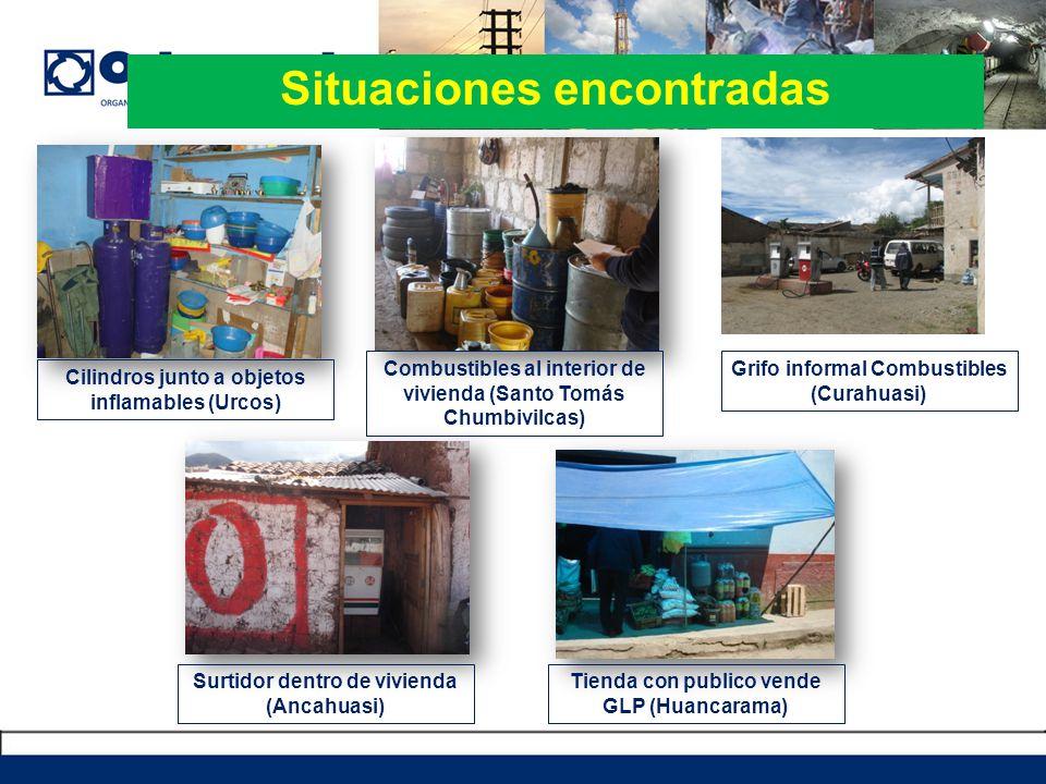 Situaciones encontradas Cilindros junto a objetos inflamables (Urcos) Combustibles al interior de vivienda (Santo Tomás Chumbivilcas) Grifo informal C