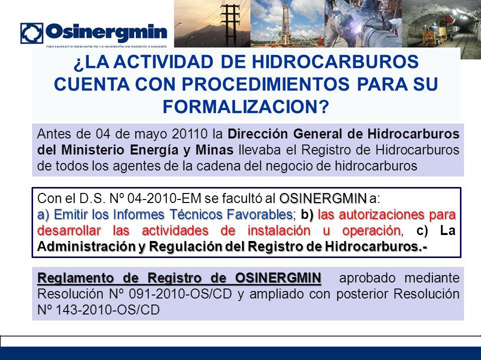 ¿LA ACTIVIDAD DE HIDROCARBUROS CUENTA CON PROCEDIMIENTOS PARA SU FORMALIZACION? Antes de 04 de mayo 20110 la Dirección General de Hidrocarburos del Mi