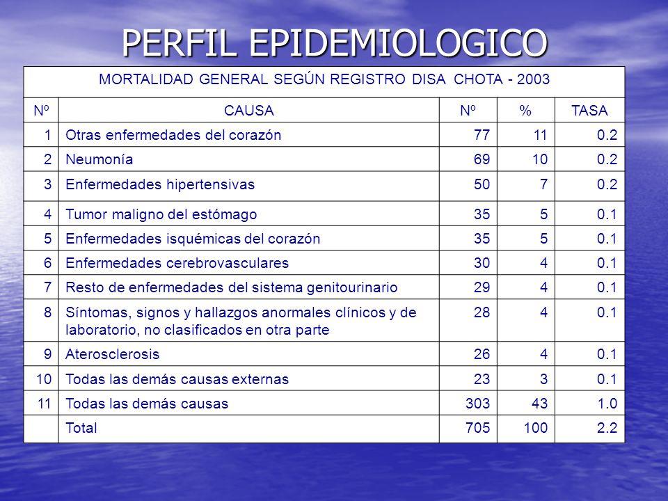 PERFIL EPIDEMIOLOGICO MORTALIDAD GENERAL SEGÚN REGISTRO DISA CHOTA - 2003 NºCAUSANº%TASA 1Otras enfermedades del corazón77110.2 2Neumonía69100.2 3Enfe
