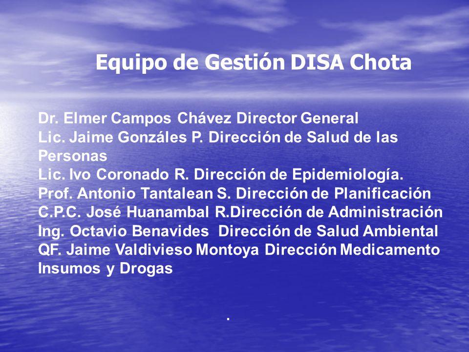 . Equipo de Gestión DISA Chota Dr. Elmer Campos Chávez Director General Lic. Jaime Gonzáles P. Dirección de Salud de las Personas Lic. Ivo Coronado R.