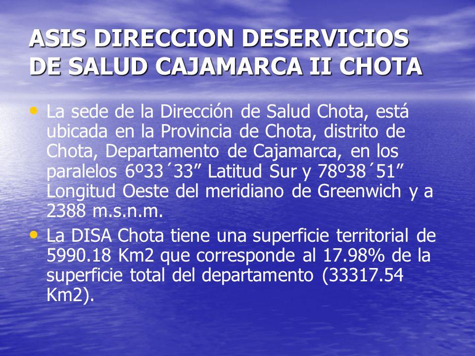 ASIS DIRECCION DESERVICIOS DE SALUD CAJAMARCA II CHOTA La sede de la Dirección de Salud Chota, está ubicada en la Provincia de Chota, distrito de Chot