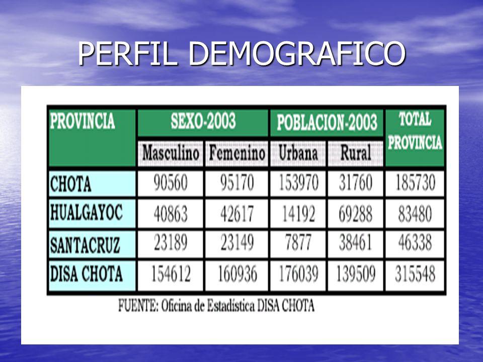 PERFIL EPIDEMIOLOGICO CUADRO DE MORBILIDAD POR CAPITULO TOTAL A NIVEL DISA 2003 NºENFERMEDADESNUMER O TASA% 1ENF.DEL SISTEMA RESPIRATORIO106737338.2635.16 2CIERTAS ENF.