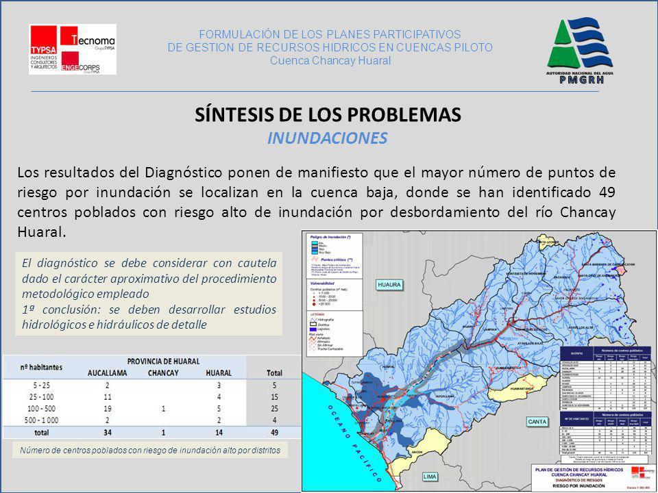 Los resultados del Diagnóstico ponen de manifiesto que el mayor número de puntos de riesgo por inundación se localizan en la cuenca baja, donde se han