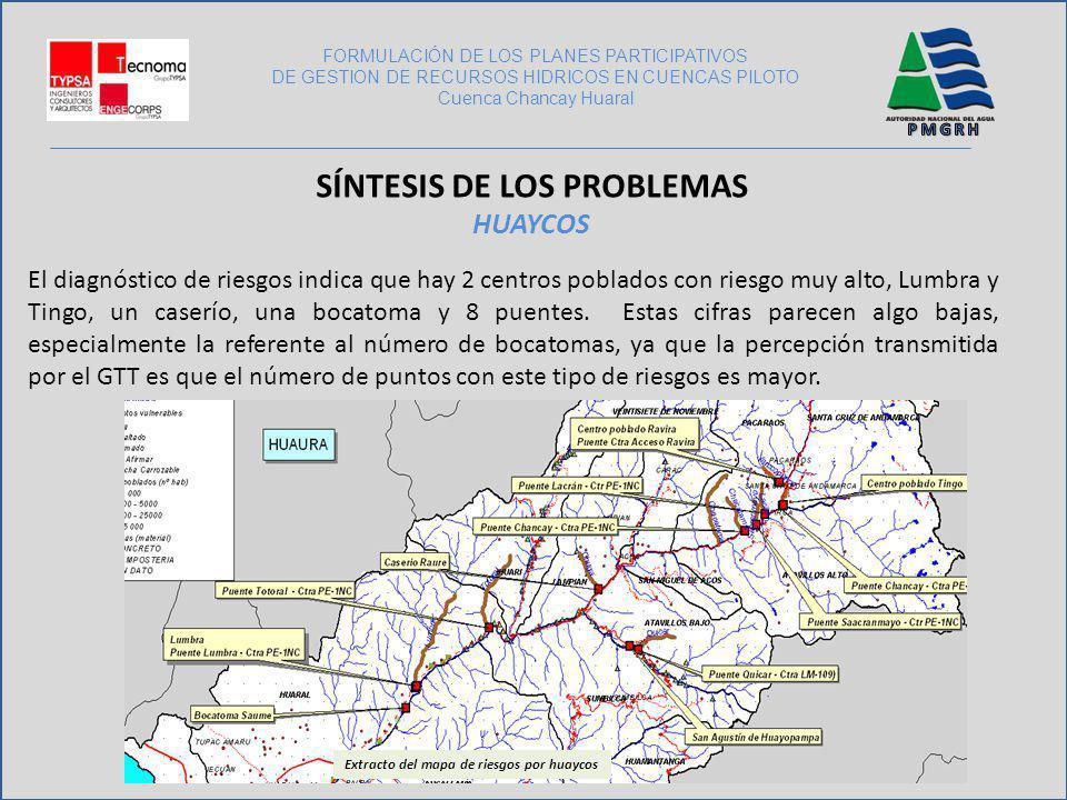 El diagnóstico de riesgos indica que hay 2 centros poblados con riesgo muy alto, Lumbra y Tingo, un caserío, una bocatoma y 8 puentes. Estas cifras pa