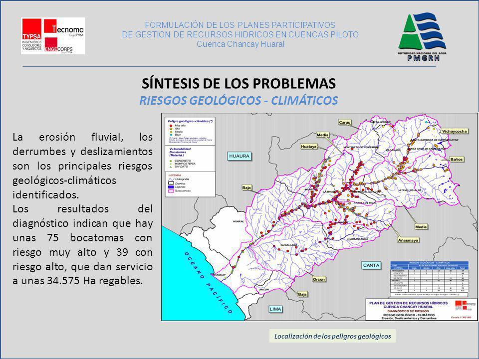 La erosión fluvial, los derrumbes y deslizamientos son los principales riesgos geológicos-climáticos identificados. Los resultados del diagnóstico ind