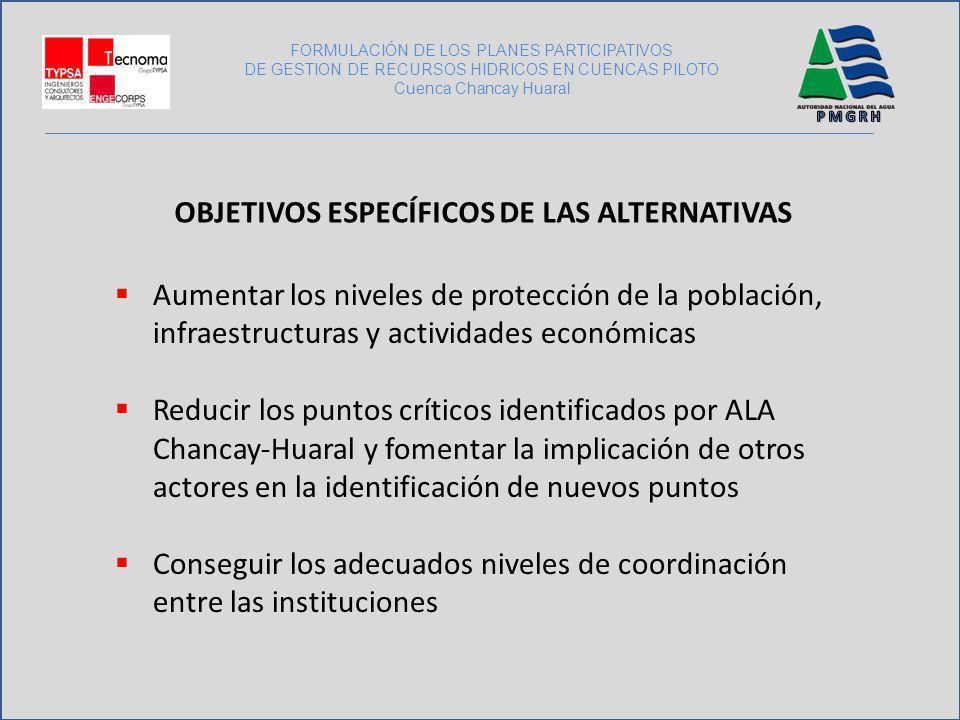 FORMULACIÓN DE LOS PLANES PARTICIPATIVOS DE GESTION DE RECURSOS HIDRICOS EN CUENCAS PILOTO Cuenca Chancay Huaral OBJETIVOS ESPECÍFICOS DE LAS ALTERNAT