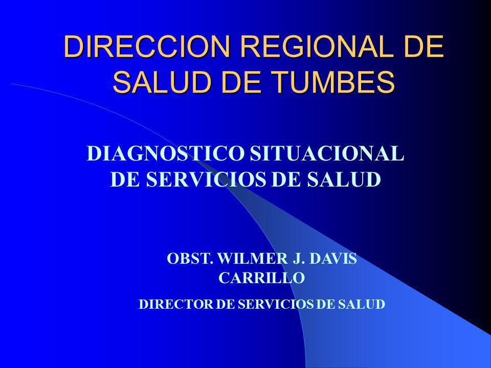 DIRECCION REGIONAL DE SALUD DE TUMBES DIAGNOSTICO SITUACIONAL DE SERVICIOS DE SALUD OBST. WILMER J. DAVIS CARRILLO DIRECTOR DE SERVICIOS DE SALUD