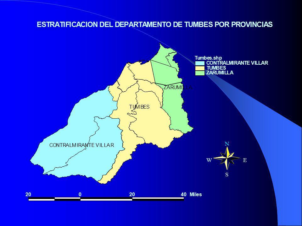 TUMBES CONTRALMIRANTE VILLAR ZARUMILLA Tumbes.shp CONTRALMIRANTE VILLAR TUMBES ZARUMILLA 2002040Miles N EW S ESTRATIFICACION DEL DEPARTAMENTO DE TUMBES POR PROVINCIAS