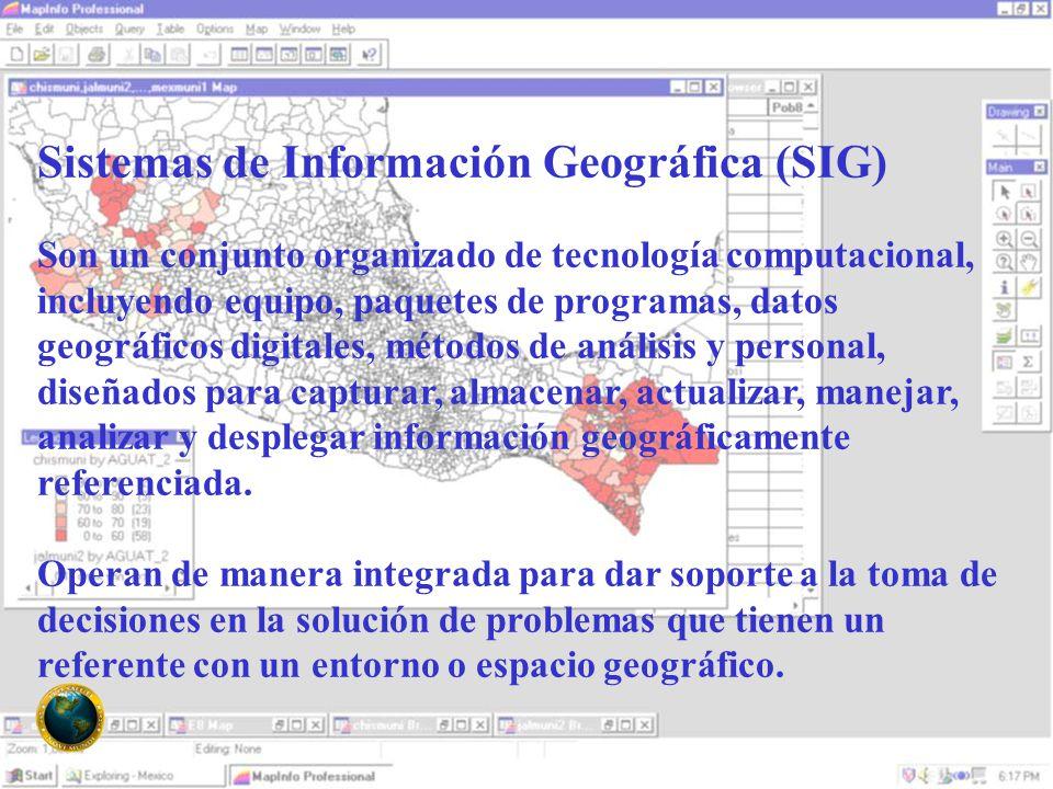 Sistemas de Información Geográfica (SIG) Son un conjunto organizado de tecnología computacional, incluyendo equipo, paquetes de programas, datos geográficos digitales, métodos de análisis y personal, diseñados para capturar, almacenar, actualizar, manejar, analizar y desplegar información geográficamente referenciada.