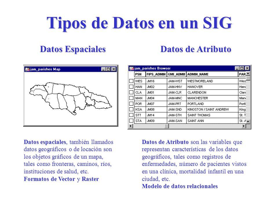 Tipos de Datos en un SIG Datos Espaciales Datos de Atributo Datos espaciales, también llamados datos geográficos o de locación son los objetos gráficos de un mapa, tales como fronteras, caminos, ríos, instituciones de salud, etc.