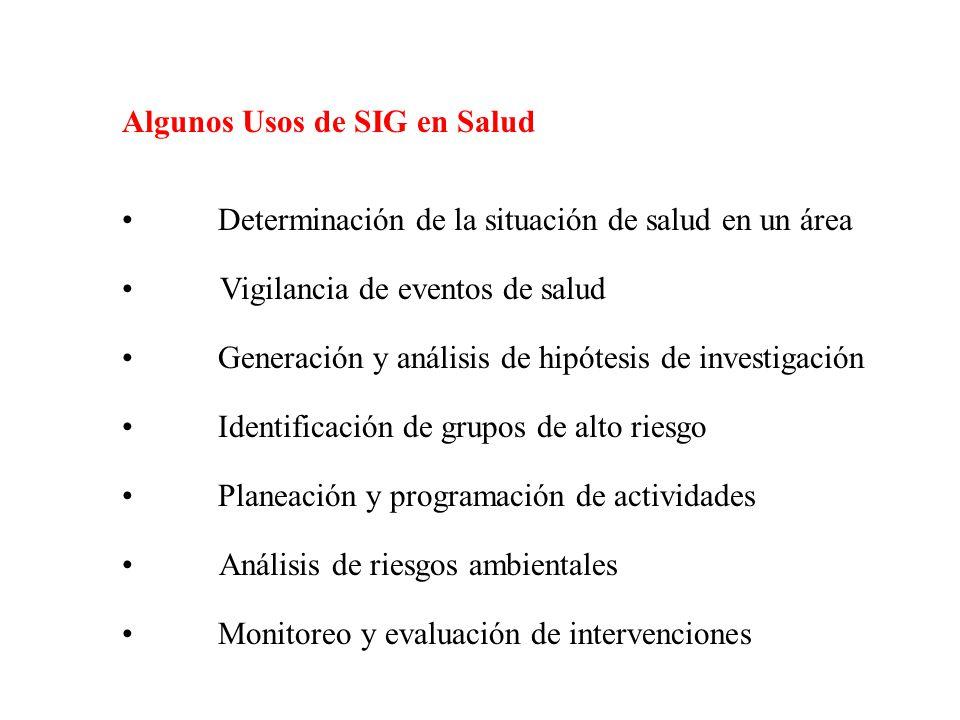 Algunos Usos de SIG en Salud Determinación de la situación de salud en un área Vigilancia de eventos de salud Generación y análisis de hipótesis de investigación Identificación de grupos de alto riesgo Planeación y programación de actividades Análisis de riesgos ambientales Monitoreo y evaluación de intervenciones