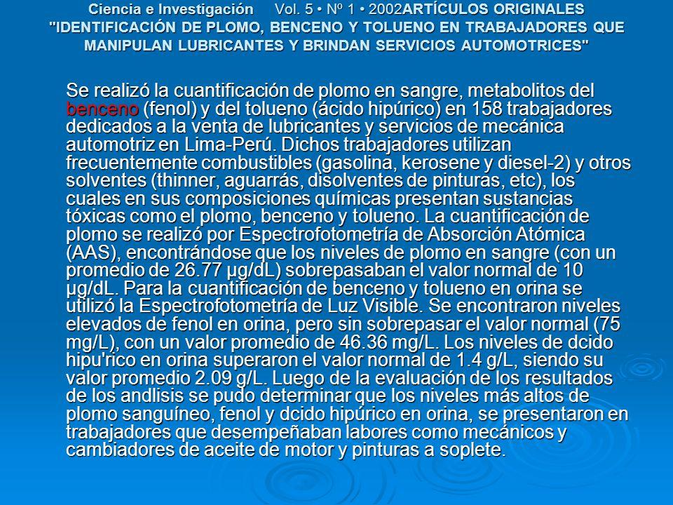 Ciencia e Investigación Vol. 5 Nº 1 2002ARTÍCULOS ORIGINALES