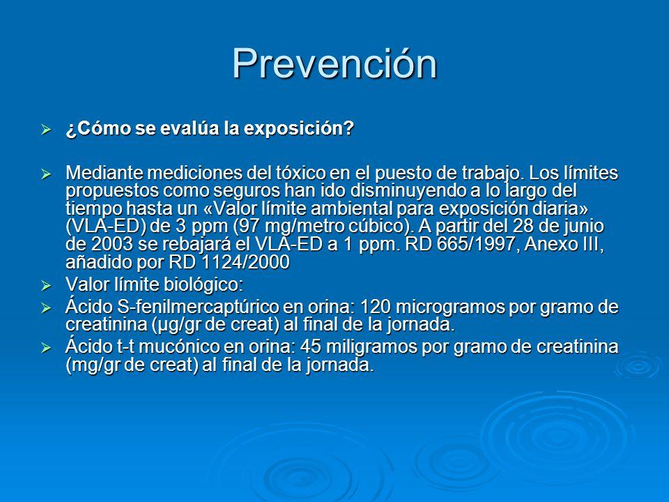 Prevención ¿Cómo se evalúa la exposición? ¿Cómo se evalúa la exposición? Mediante mediciones del tóxico en el puesto de trabajo. Los límites propuesto