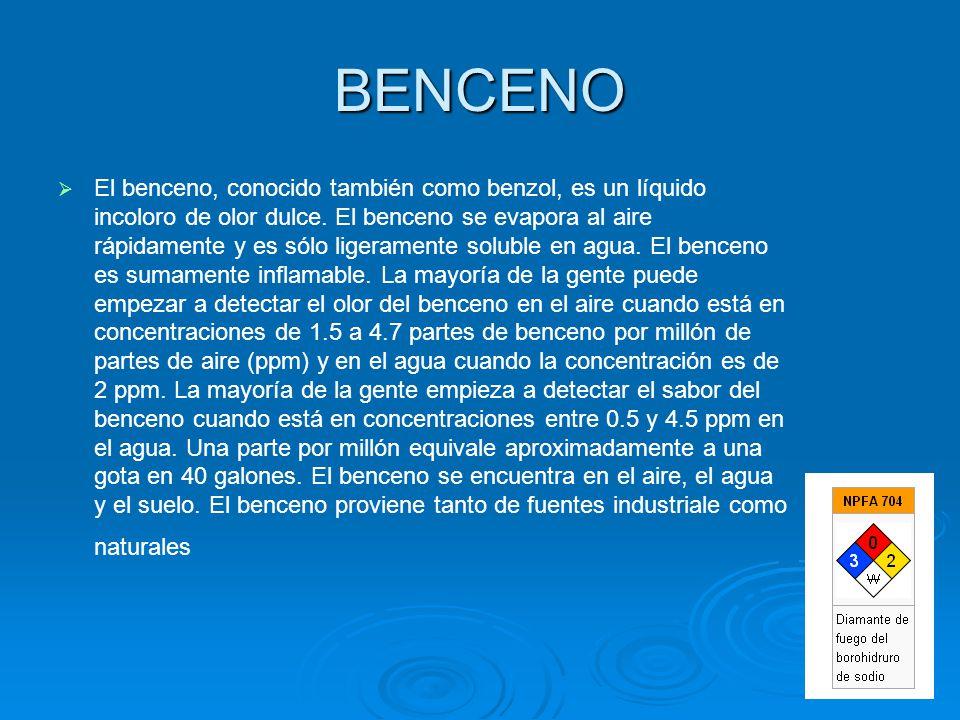 BENCENO El benceno, conocido también como benzol, es un líquido incoloro de olor dulce. El benceno se evapora al aire rápidamente y es sólo ligerament