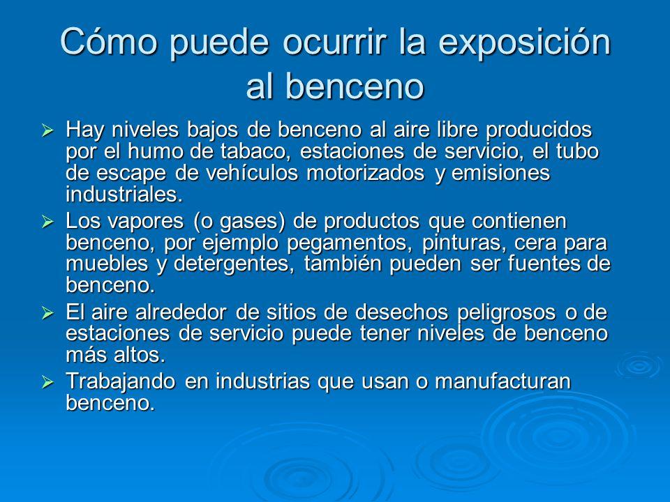 Cómo puede ocurrir la exposición al benceno Hay niveles bajos de benceno al aire libre producidos por el humo de tabaco, estaciones de servicio, el tu
