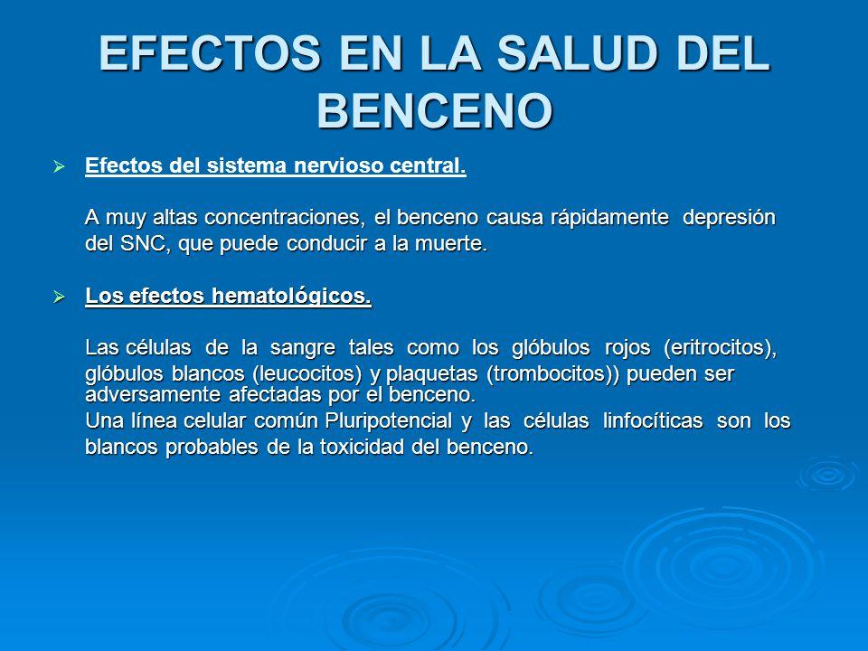EFECTOS EN LA SALUD DEL BENCENO Intoxicación aguda: Efectos narcóticos: mareos, cefaleas, confusión, ebriedad, náuseas, marcha tambaleante, coma y muerte por paro respiratorio.
