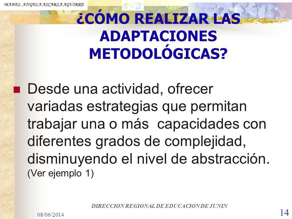 08/06/2014 14 ¿CÓMO REALIZAR LAS ADAPTACIONES METODOLÓGICAS? Desde una actividad, ofrecer variadas estrategias que permitan trabajar una o más capacid