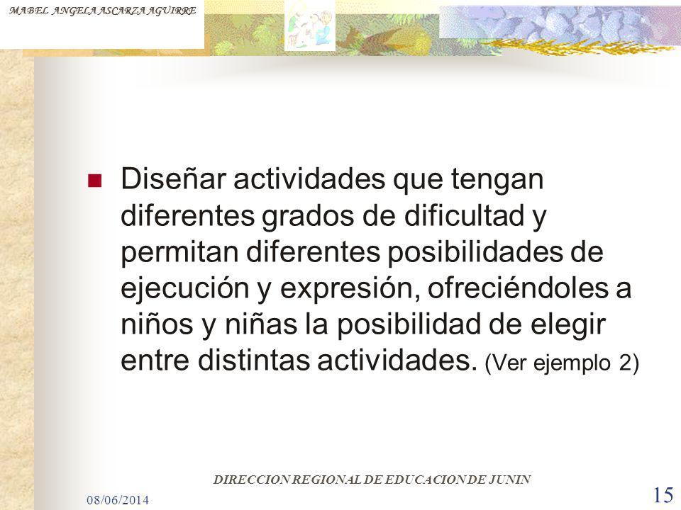 08/06/2014 15 Diseñar actividades que tengan diferentes grados de dificultad y permitan diferentes posibilidades de ejecución y expresión, ofreciéndol