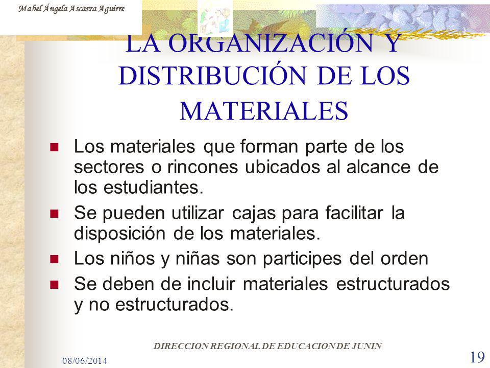 08/06/2014 19 LA ORGANIZACIÓN Y DISTRIBUCIÓN DE LOS MATERIALES Los materiales que forman parte de los sectores o rincones ubicados al alcance de los e