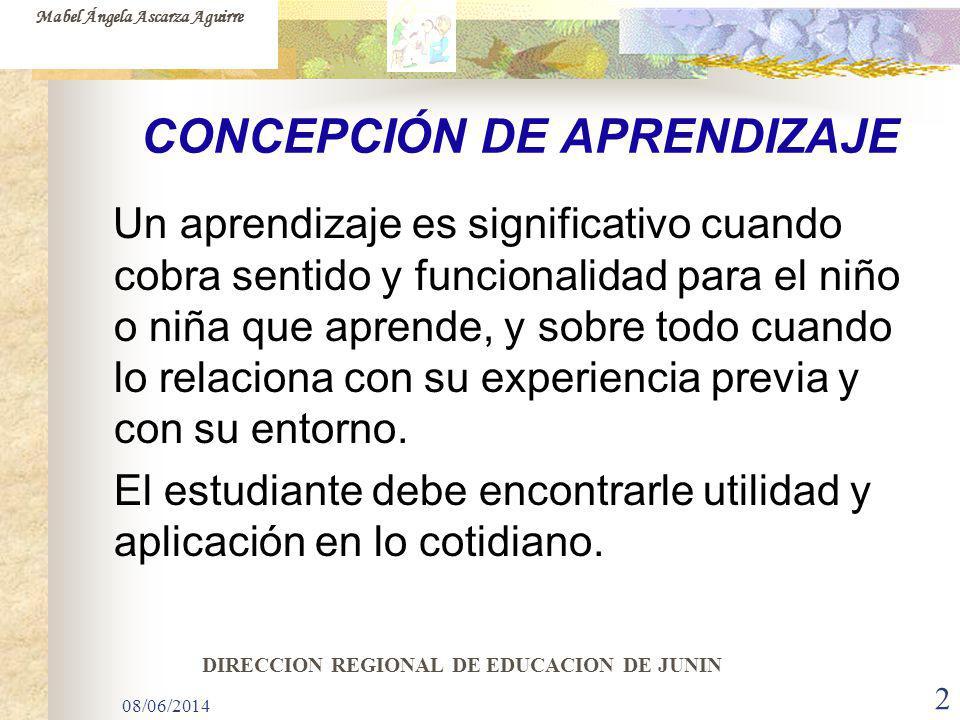 08/06/2014 2 CONCEPCIÓN DE APRENDIZAJE Un aprendizaje es significativo cuando cobra sentido y funcionalidad para el niño o niña que aprende, y sobre t