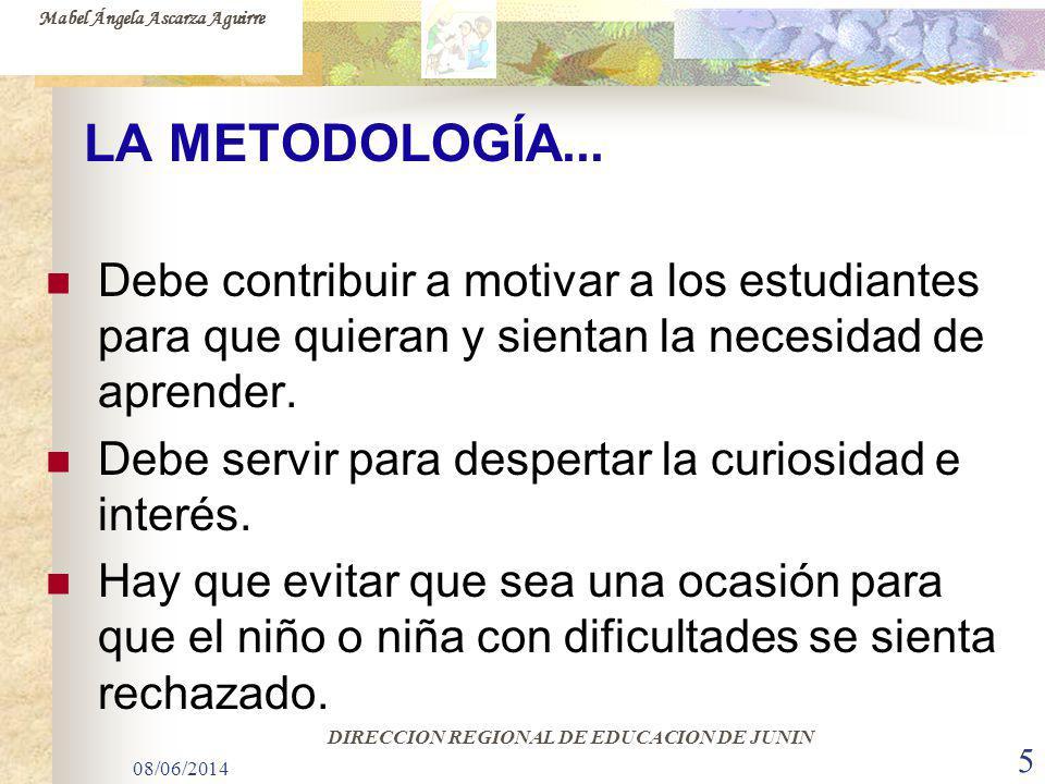 08/06/2014 5 LA METODOLOGÍA... Debe contribuir a motivar a los estudiantes para que quieran y sientan la necesidad de aprender. Debe servir para despe