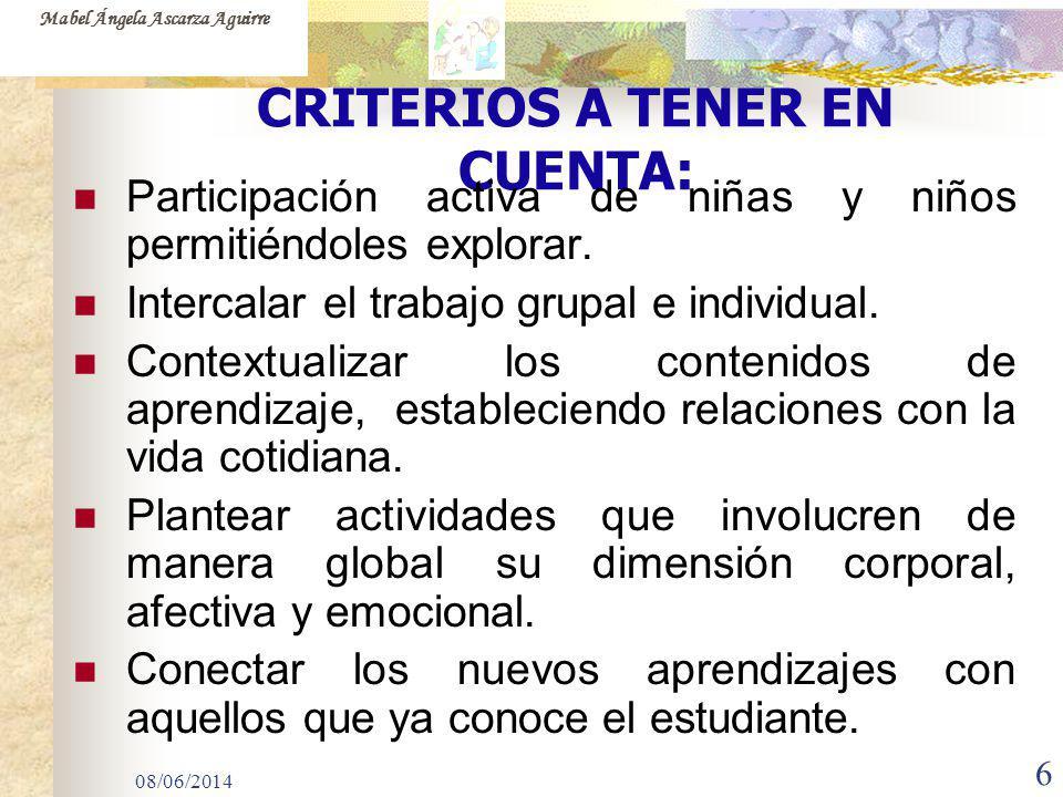 08/06/2014 6 CRITERIOS A TENER EN CUENTA: Participación activa de niñas y niños permitiéndoles explorar. Intercalar el trabajo grupal e individual. Co