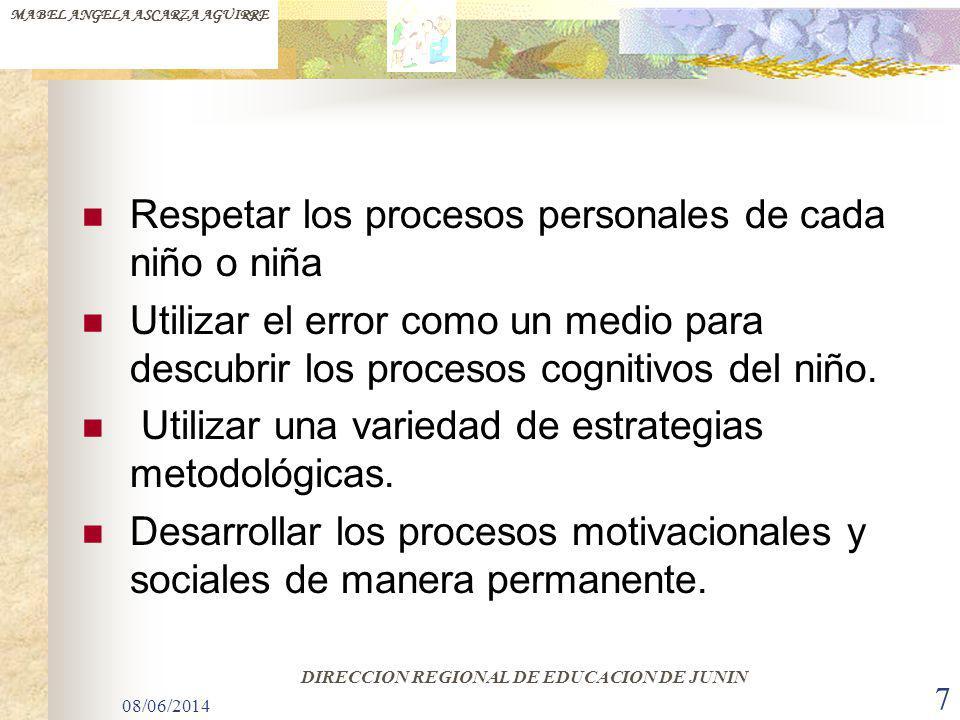 08/06/2014 7 Respetar los procesos personales de cada niño o niña Utilizar el error como un medio para descubrir los procesos cognitivos del niño. Uti